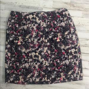 Talbots XL 16WP Petite Midi Skirt Black Floral